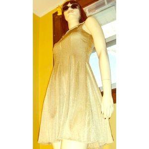 💛VTG Fit & Flare Gold Glitter Mini Skater Dress